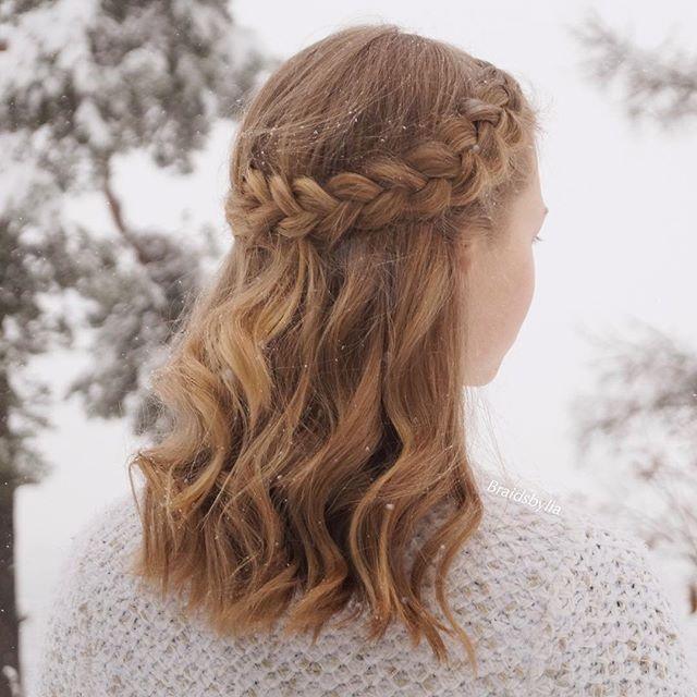 Braid hairstyles of medium length simple